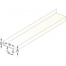 Сливная рейка белая 50 мм; L - 2 м. (RAL)